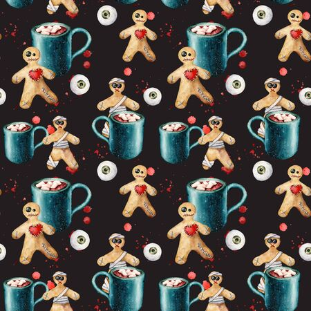 Watercolor halloween seamless pattern with cacao and cookie. Hand painted template with gingerbread monsters and eyes isolated on black background. Holiday illustration for design, print, background. Stok Fotoğraf - 133386603