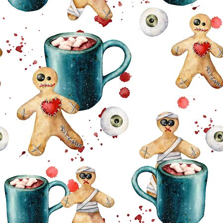 Watercolor halloween seamless pattern with cookie and cacao. Hand painted template with gingerbread monsters and eyes isolated on white background. Holiday illustration for design, print, background.