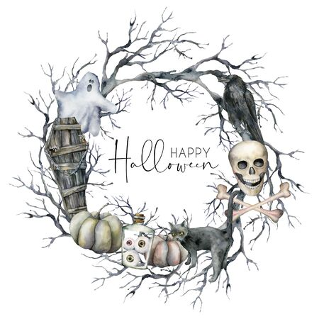 Watercolor halloween wreath with crow, ghost and pumpkin. Hand painted holiday template card with branch, cat and coffin isolated on white background. Illustration for design, print or background. Banque d'images - 133386606