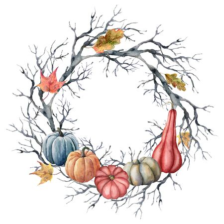 Watercolor autumn wreath with leaves and pumpkins. Hand painted fall template card with tree branch isolated on white background. Illustration for design, print or background.