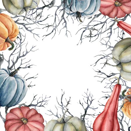 Watercolor autumn pumpkins frame. Hand painted oak tree branch and gourds isolated on white background. Floral illustration for design, print, fabric or background.