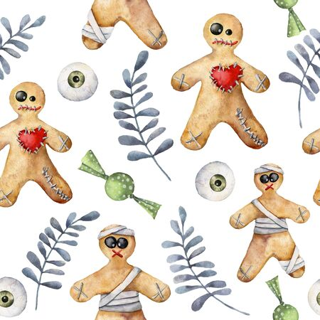 Watercolor halloween seamless pattern with cookie and candy. Hand painted template with gingerbread monsters and eyes isolated on white background. Holiday illustration for design, print, background. Stockfoto