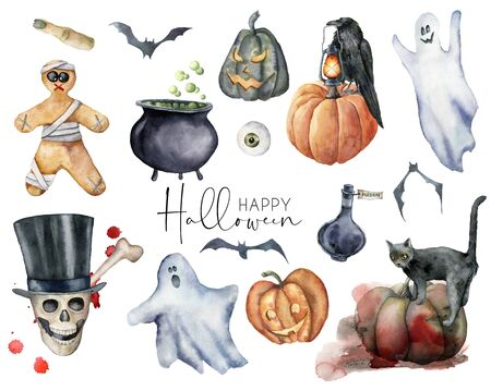 Watercolor elements set for halloween. Hand painted holiday set with cat, pumpkin, skull, crow, gingerbread, ghost and eye isolated on white background. Illustration for design, print or background. Banque d'images - 133386615