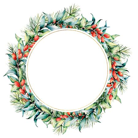 Watercolor Christmas wreath with berries and eucalyptus. Hand painted fir border with barberries, eucalyptus leaves isolated on white background. Holiday floral print design, print or background.