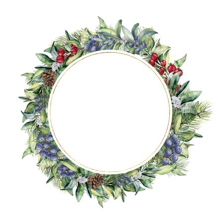 Watercolor floral wreath with snowberies. Hand painted fir branches, red and blue berries with leaves, pine cones isolated on white background. Christmas illustration for design, print or background. Stockfoto