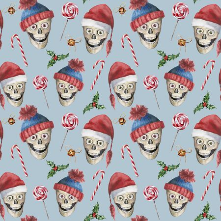 Watercolor christmas seamless pattern with lollipops and skulls. Hand painted holiday illustration with hats, bells isolated on pastel blue background. Winter pattern for design, print or background.