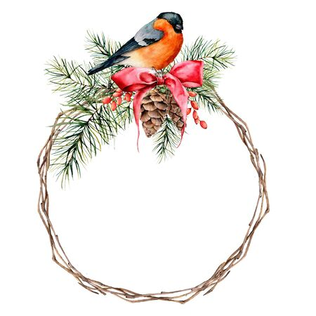 Watercolor Christmas wreath with bullfinch and winter design. Hand painted bird with pine cone, red bow, berries, fir branch isolated on white background. Holiday symbol for design, print, background. Stockfoto