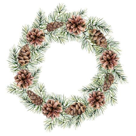 Watercolor Christmas wreath with cones and fir branches. Hand painted fir border isolated on white background. Floral print design, print or background.