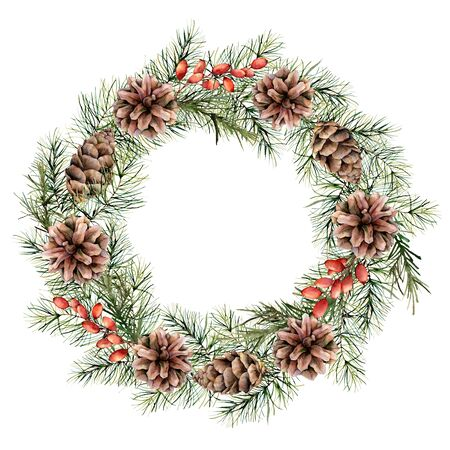 Watercolor Christmas wreath with berries, pine cones and tree branches. Hand painted fir border isolated on white background. Floral print design, print or background.