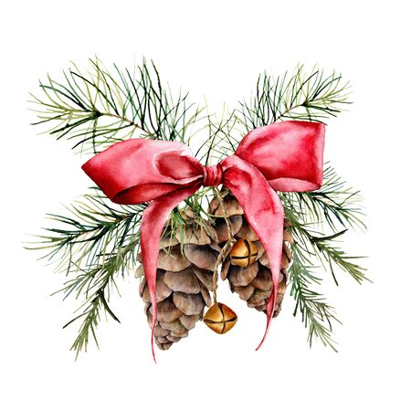 Watercolor Christmas composition with cones and red ribbon. Hand painted traditional gold bells with christmas tree branches isolated on white background. Holiday print for design or background.