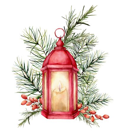 Watercolor card with lantern and Christmas floral decor. Hand painted traditional fir branch and berry isolated on white background. Holiday print for design, print or background. Stockfoto