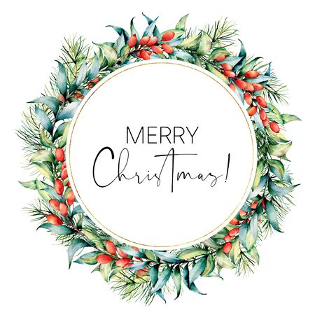 Watercolor Merry Christmas card with berries and eucalyptus. Hand painted fir wreath with barberries, eucalyptus leaves isolated on white background. Holiday floral print design, print, background.