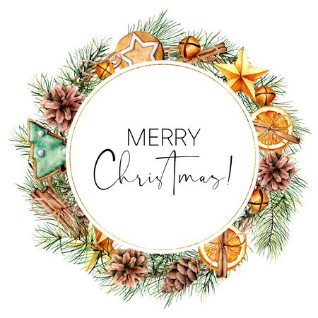 Watercolor Merry Christmas card with winter decor. Hand painted fir wreath with cones, branches, cookies, orange slices, bells isolated on white background. Floral illustration for design or print.