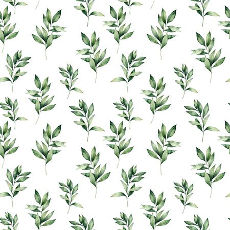 Watercolor winter eucalyptus seamless pattern. Hand painted green eucalyptus branches composition isolated on white background. Holiday floral illustration for design, print or background.