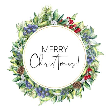 Watercolor Merry Christmas floral card with snowberies. Hand painted fir branches, berries with leaves, pine cones isolated on white background. Christmas illustration for design, print or background. Stock Photo