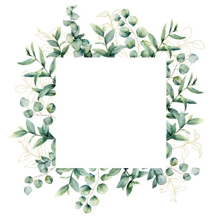Watercolor frame with golden eucaliptus leaves. Hand painted baby, seeded and silver dollar eucalyptus branch isolated on white background. Floral illustration for design, print, fabric or background.