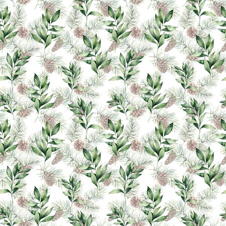 Watercolor Christmas seamless pattern with fir and eucalyptus branches. Hand painted fir cones and eucalyptus leaves isolated on white background. Winter illustration for design, print or background.