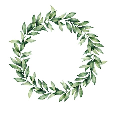Watercolor winter wreath with eucalyptus branch. Hand painted green eucalyptus leaves composition isolated on white background. Holiday floral illustration for design, print or background.
