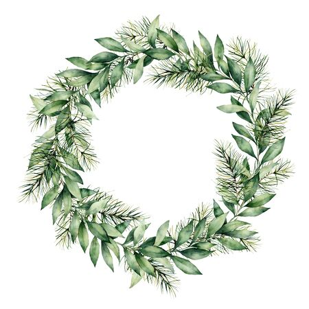 Watercolor winter wreath with eucalyptus and fir branch. Hand painted eucalyptus leaves and pine needle isolated on white background. Holiday floral illustration for design, print or background.