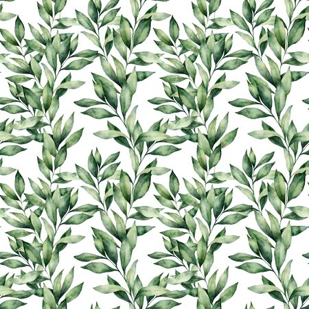 Watercolor eucalyptus seamless pattern. Hand painted green eucalyptus branches composition isolated on white background. Holiday floral illustration for design, print or background. Winter holidays.