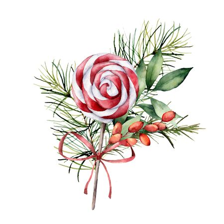 Watercolor Christmas card with a bouquet of branches and candy. Hand painted berries, bow, spruce and eucalyptus branches isolated on white background. Holiday print for design, print or background.
