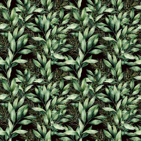 Watercolor eucalyptus branches seamless pattern. Hand painted green eucalyptus branches composition isolated on black background. Holiday floral illustration for design, print or background.