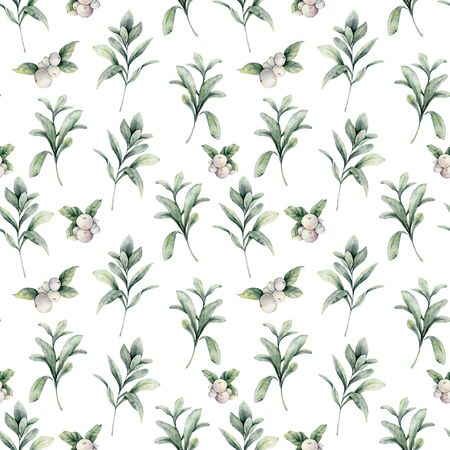 Watercolor lamb ears and snowberries seamless pattern. Hand painted berries, branch and leaves composition isolated on white background. Holiday floral illustration for design, print or background.