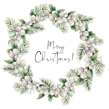 Watercolor winter wreath with snowberries and pine needles. Hand painted berries and fir branch composition isolated on white background. Holiday floral illustration for design, print or background.