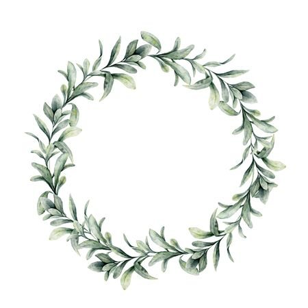 Watercolor winter wreath with lambs ears branch. Hand painted green woolly hedgenettle leaves composition isolated on white background. Holiday floral illustration for design, print or background.