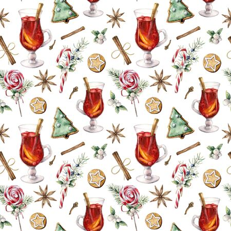 Watercolor pastry seamless pattern. Hand painted mulled wine, lollipop, cookies, spice, juniper and snowberry isolated on white background. Christmas ilustration for design, print, fabric, background. Stockfoto