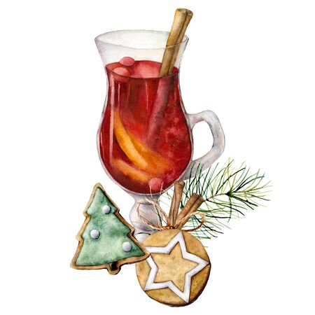 Watercolor Christmas mulled wine. Hand painted wine glass, cinnamon, gingerbread and fir branch isolated on white background. Winter illustration for design, print, fabric or background.