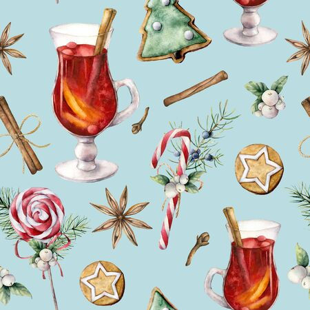 Watercolor pastry seamless pattern with mulled wine. Hand painted lollipop, cookies, juniper and snowberry isolated on blue background. Christmas ilustration for design, print, fabric or background.