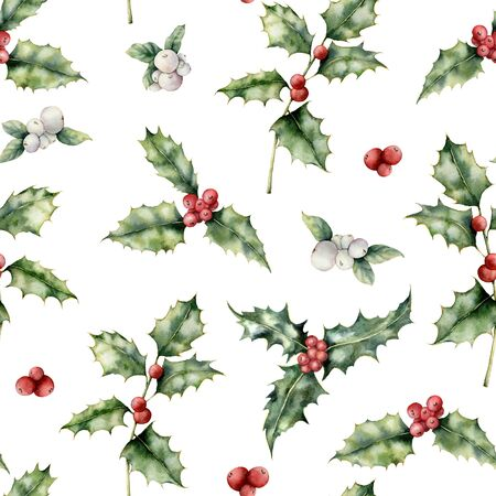 Watercolor holly and mistletoe Christmas seamless pattern. Hand painted holiday plant with red and white berries isolated on white background. Winter floral illustration for design, print, background.