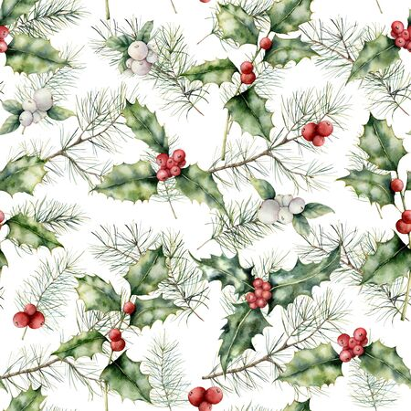 Watercolor Christmas floral seamless pattern. Hand painted holiday plant with holly, mistletoe and fir branch isolated on white background. Winter floral illustration for design, print or background.