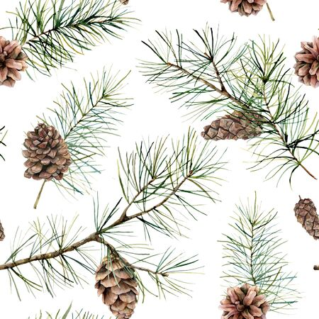 Watercolor botanical seamless pattern with pine branches and cones. Hand painted winter holiday plants isolated on white background. Floral illustration for design, print, fabric or background. Stockfoto