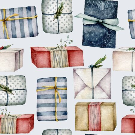 Watercolor seamless pattern with Christmas gift boxes. Hand painted boxes with bow isolated on pastel blue background. Holiday illustration for design, print, fabric or background.