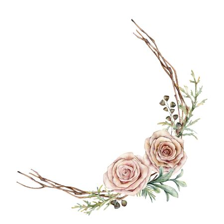 Watercolor pink roses and leaves wreath. Hand painted floral vintage flowers, seeds, juniper and lambs ears leaves isolated on white background. Botanical illustration for design, print or background.