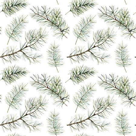 Watercolor botanical seamless pattern with pine branches. Hand painted winter holiday plants with fir isolated on white background. Floral illustration for design, print, fabric or background.