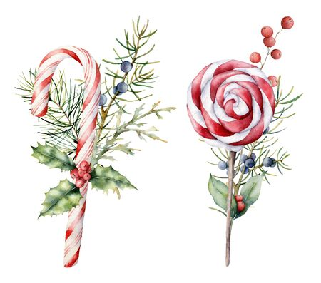 Watercolor Christmas candies with decor. Hand painted cane, striped lollipop, fir branch, holly and juniper isolated on white background. Sweet illustration for design, print, fabric or background. Stockfoto