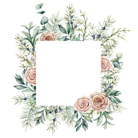 Watercolor Christmas plants and flowers card. Hand painted frame with juniper, fir, eucalyptus and roses isolated on white background. Floral illustration for design, print, fabric or background. Stockfoto