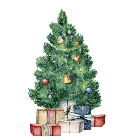 Watercolor Christmas tree with gifts and toys. Hand painted New Year tree with toys and lights, gift boxes with bow isolated on white background. Holiday illustration for design, card or print.