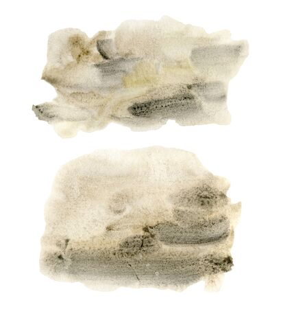 Watercolor texture with beige and black points set. Hand painted beautiful illustration with stains isolated on white background. For design, print, fabric or background.