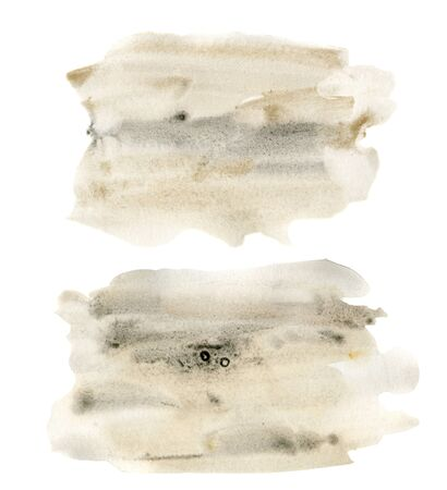 Watercolor texture with gray and beige points set. Hand painted beautiful illustration with stains isolated on white background. For design, print, fabric or background.