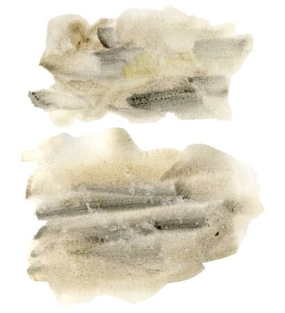 Watercolor texture with black and beige points set. Hand painted beautiful illustration with stains isolated on white background. For design, print, fabric or background. Stockfoto