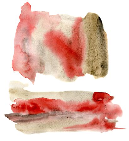 Watercolor texture with red and beige points set. Hand painted beautiful illustration with stains isolated on white background. For design, print, fabric or background