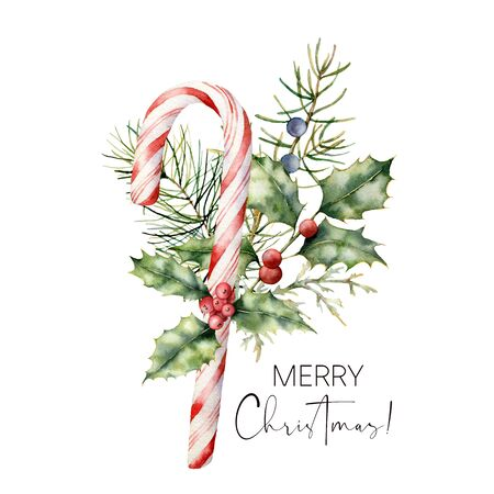 Watercolor Christmas cane with decor. Hand painted cane, striped lollipop, fir branch, holly and juniper isolated on white background. Sweet illustration for design, print, fabric or background