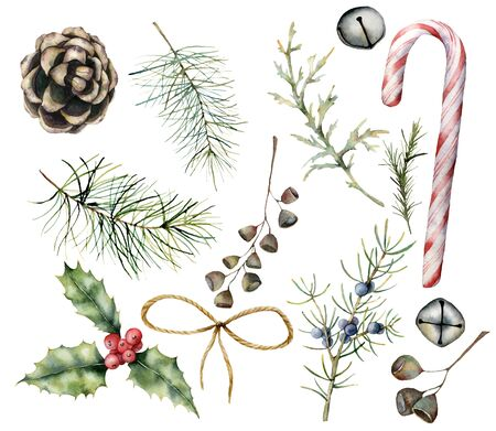Watercolor Christmas decor with candy cane. Hand painted cane, pine cone, bells, fir branch, holly, bow and juniper isolated on white background. Illustration for design, print, fabric or background.