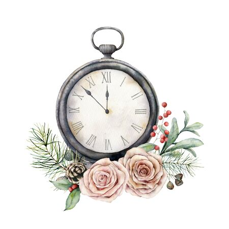 Watercolor vintage table clock with roses. Christmas illustration with vintage watch isolated on white background. Five minutes to twelve oclock of new year. For design, print, fabric or background.