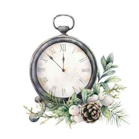 Watercolor vintage table clock with pine cone. Christmas illustration with vintage watch isolated on white background. Five minutes to twelve oclock of new year. For design, print, background.
