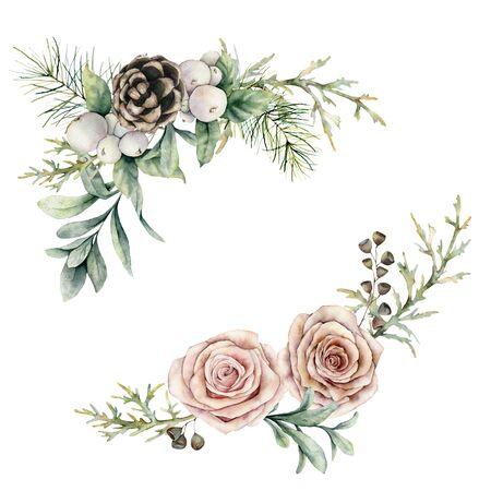 Aquarel roze rozen en dennenappel samenstelling. Handgeschilderde bloemen vintage bloemen, zaden en sneeuwbessen geïsoleerd op een witte achtergrond. Botanische illustratie voor ontwerp, print of achtergrond.